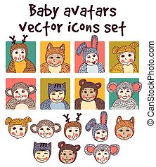 Baby children faces avatars icons set.
