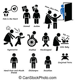 A set of human pictogram representing sickness and syndrome happens to children such as hole in the heart, autism, psychic power, hyperactive, disabled, colic, hand-food-and-mouth disease, dwarfism, and conjoined twins.