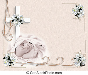 Image and illustration composition for baby baptism or christening invitation template with baby feet, cross, ribbons and flowers with copy space