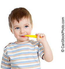 baby cleaning teeth and smiling, isolated on white background