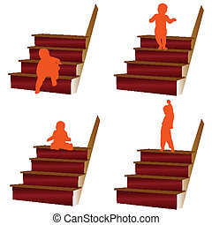 baby climbs the stairs illustration