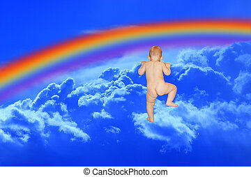 baby climbs to the blue heaven with rainbow