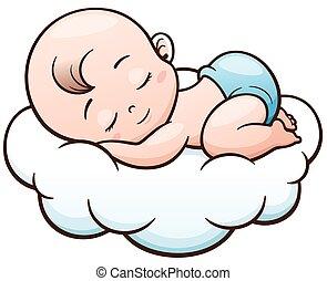 Baby - Vector Illustration of Cartoon Baby sleeping on a...