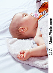 baby, close-up., pacifier., belagt, sov