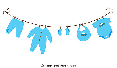 baby clothes - vector newborn baby boy clothes