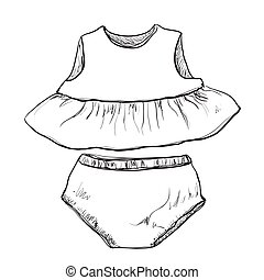 Baby clothes. Dress and trunks