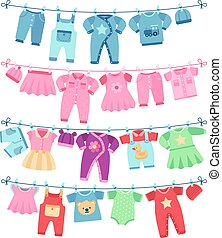 Baby clothes drying on clothesline vector illustration