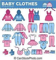 Baby clothes for little boys and girls collection. Warm...