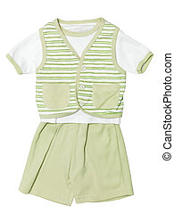 Baby clothes green set isolated on white