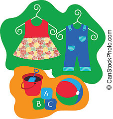 baby clothes hanging on clothes hanger and baby toys