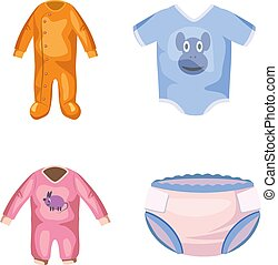 Baby clothes icon set, cartoon style
