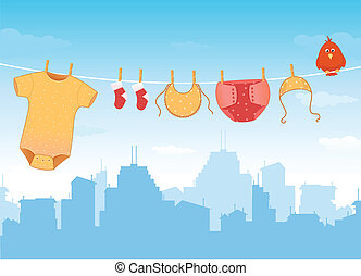 Baby clothes on clothesline - Illustration of city skyline...