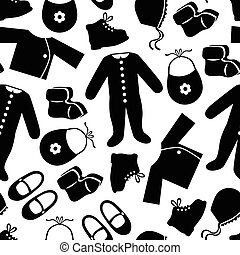 Baby clothes pattern seamless - Vector illustrations of baby...