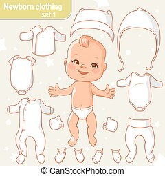 Cute little baby in diaper as paper doll. Vector set of cartoon clothes for newborn isolated. Items can be colored in one click. Baby boy or girl smiling.