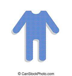 Baby clothes sign. Vector. Neon blue icon with cyclamen polka do