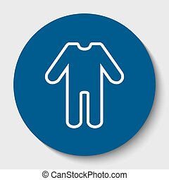 baby clothes sign. Vector. White contour icon in dark cerulean circle at white background. Isolated.