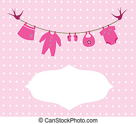 Baby Clothes - vector baby girl newborn clothes card