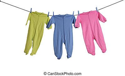 baby, clothesline., sleepers