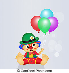 baby, clown, mit, luftballone