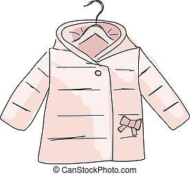 Baby coat girl, sketch for your design. Vector illustration