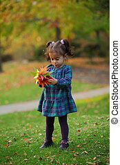 Baby collecting leaves in Fall