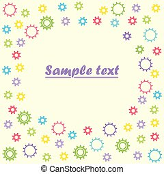 Baby colored gears on isolated light background, with space for text. Vector illustration.