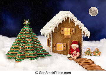 Baby composite with christmas candy house