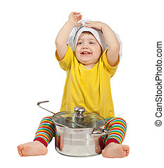Baby cook in toque with pan. Isolated over white