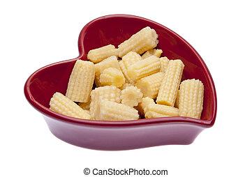 Baby Corn in a Heart Shaped Dish