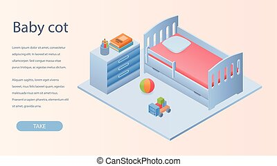Baby cot concept background, isometric style - Baby cot...