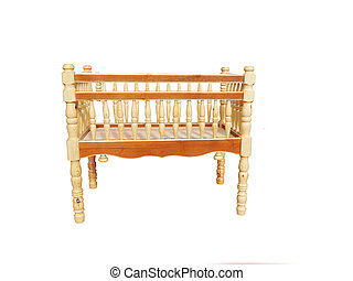 Baby cot. - Photo wooden baby cot isolated on a white ...