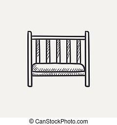 Baby cot sketch icon.