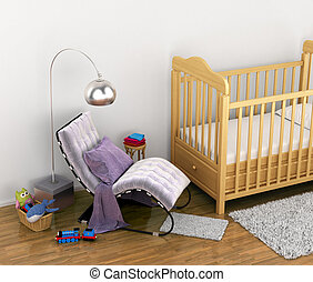 baby cot, toys, a chair, a rug for the feet in a comfortable children's room. 3D illustration
