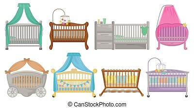 Baby cot vector illustration on white background. Vector cartoon set icon crib bed. Isolated cartoon set icons baby cot.