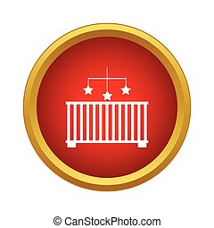Baby cot with toy icon, simple style