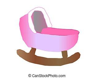 Baby Cradle - A pink baby cradle.