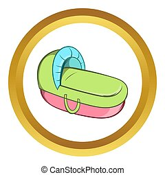Baby cradle bed  icon, cartoon style