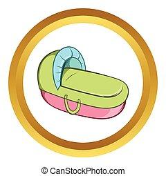 Baby cradle bed vector icon, cartoon style