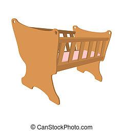 Baby cradle cartoon icon