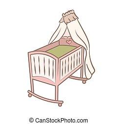 Baby cradle doodle illustration