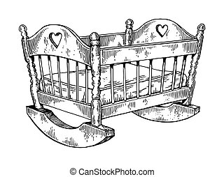Baby cradle engraving vector illustration
