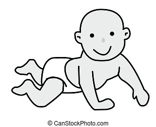 baby crawling - baby in diaper crawling fun in front