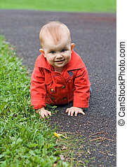 Baby crawling outdoor