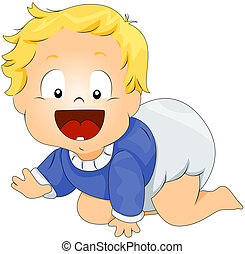 Baby Crawling with Clipping Path
