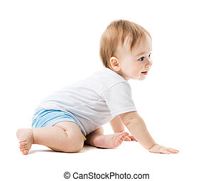 baby crawling with curiosity - beautiful baby crawling with...
