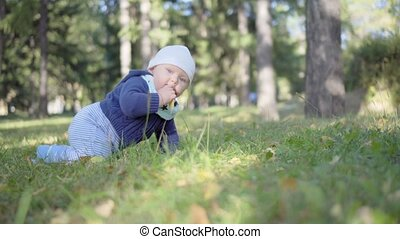 Baby crawls on the grass and eats leaves, smiling and playing