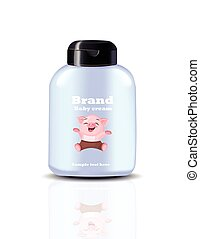 Baby cream spray Vector realistic cosmetics. Product package labels design