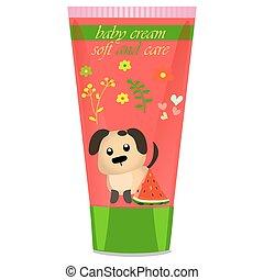 Baby cream tube with kids design