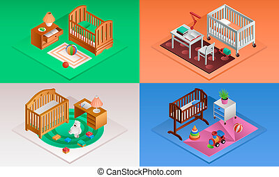 Baby crib banner set, isometric style