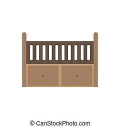 baby crib colored flat icon vector design illustration
